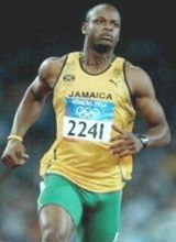 Asafa Powell showing off his lycra bulge